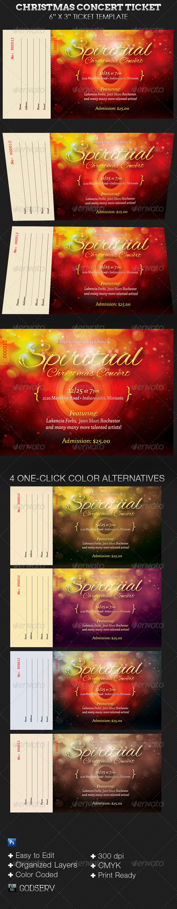 Spiritual Christmas Concert Ticket Template - Miscellaneous Print Templates