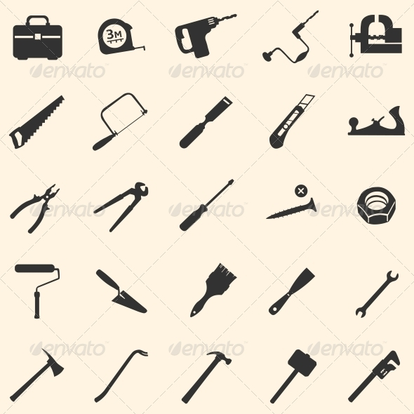 Vector Set of 25 Tool Icons - Miscellaneous Icons