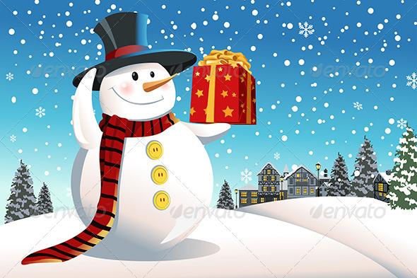 Snowman holding Christmas Present - Christmas Seasons/Holidays