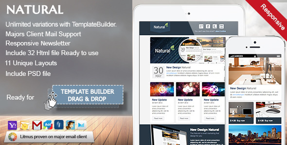 Natural - Responsive Email Template - Newsletters Email Templates