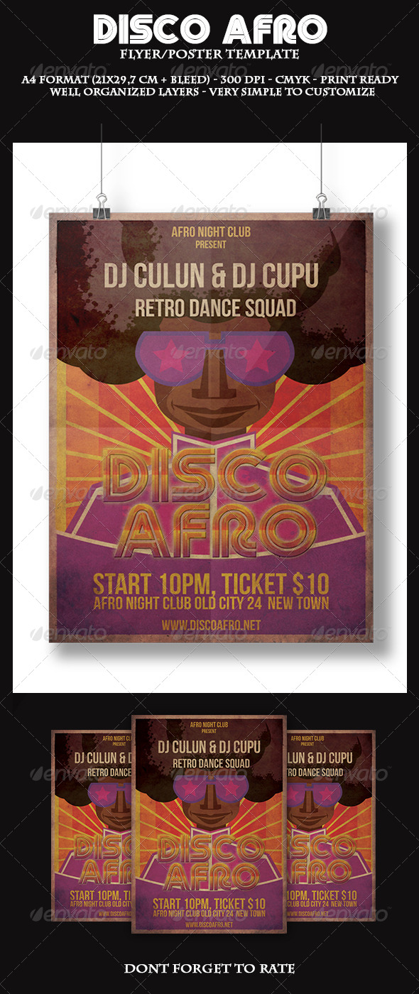 Disco Afro Flyer Template - Clubs & Parties Events