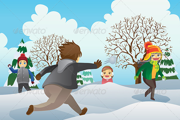 Children Playing Snowballs - People Characters