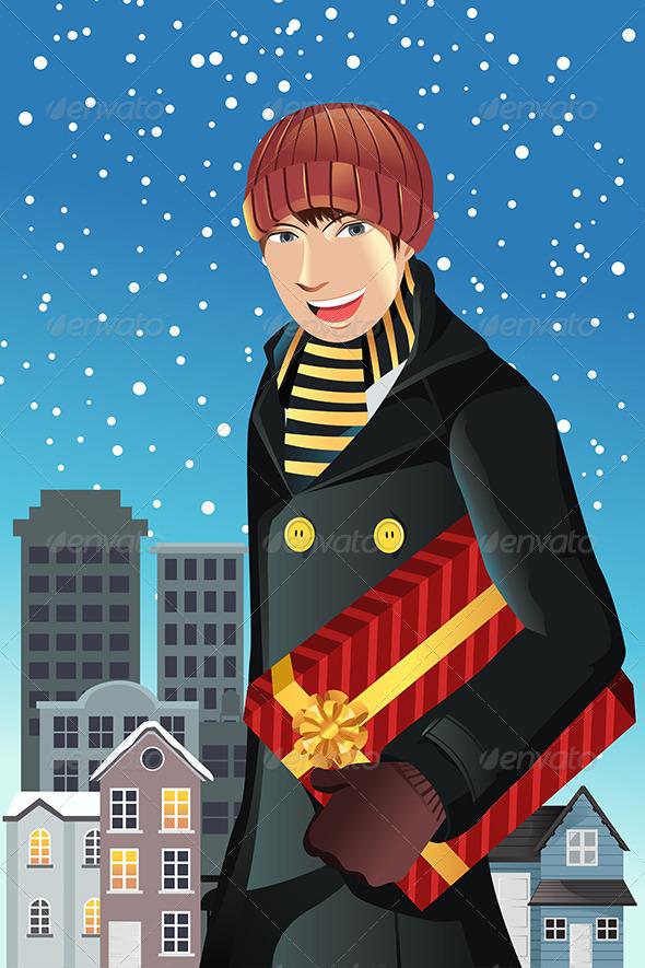 Man Shopping for Christmas - Christmas Seasons/Holidays