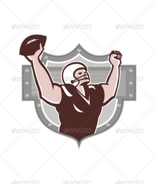American Football Receiver Touchdown Retro - Sports/Activity Conceptual