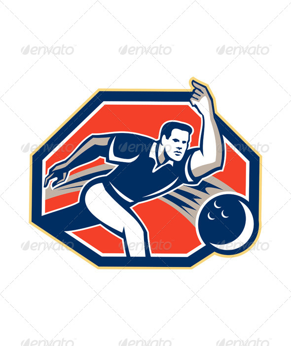 Bowler Throw Bowling Ball Retro - Sports/Activity Conceptual