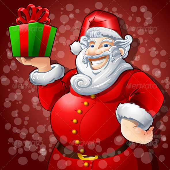 Cheerful Santa Claus with Box Gift - Christmas Seasons/Holidays