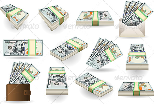 Set of One Hundred Dollars Banknotes - Business Conceptual
