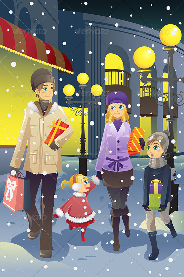 Shopping Family in Winter - Christmas Seasons/Holidays