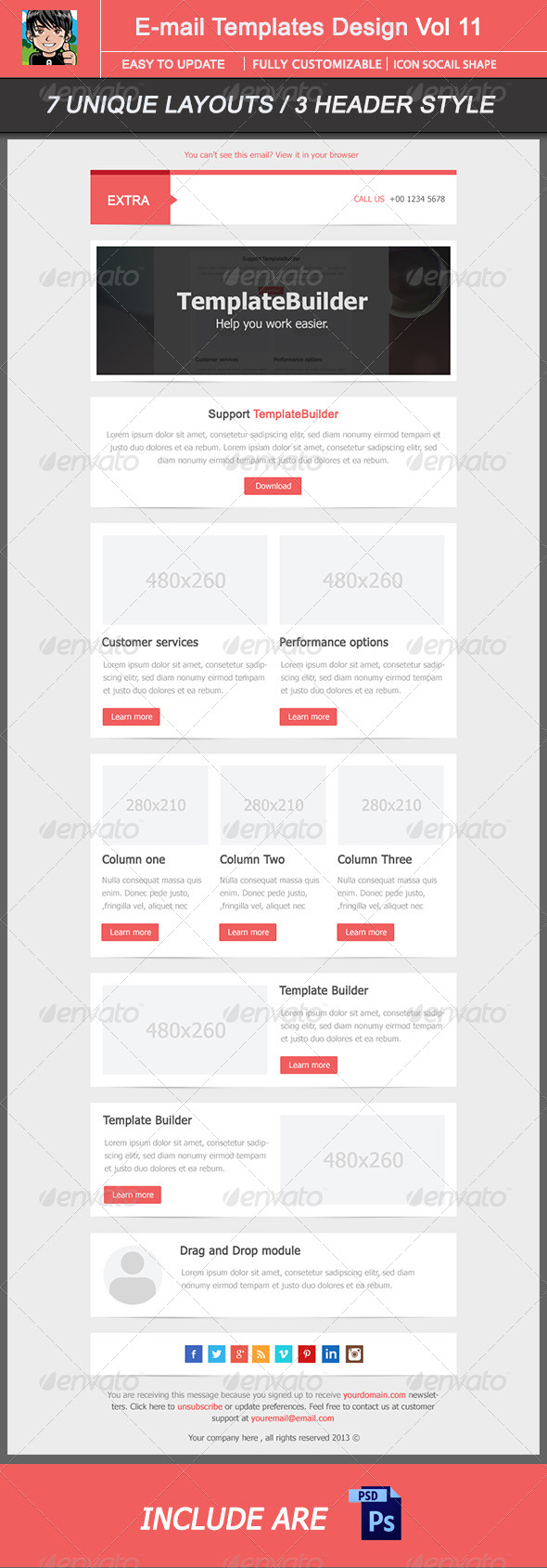 Extra Email Template Design Vol 12 - E-newsletters Web Elements