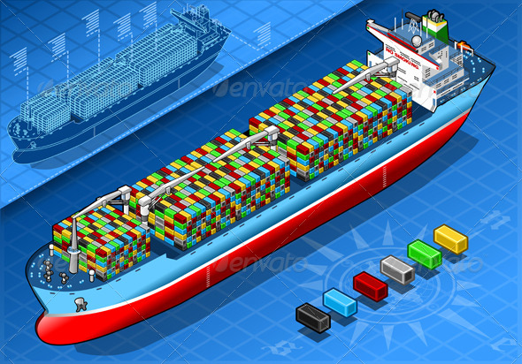 Isometric Cargo Ship with Containers Isolated - Objects Vectors