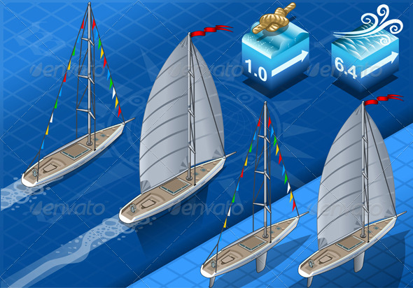 Isometric Sailships in Navigation in Rear View - Objects Vectors