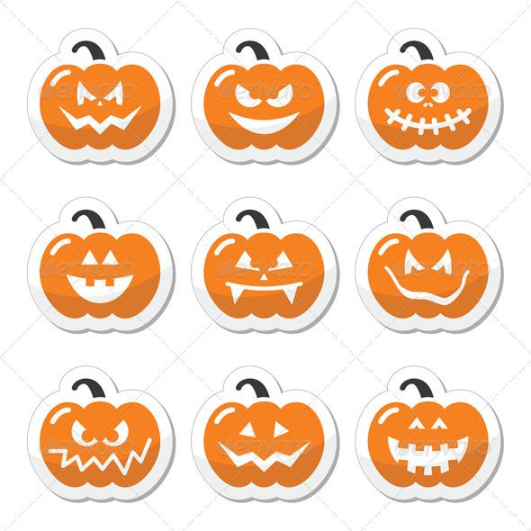 Halloween Pumkin Vector Orange Icons Set - Halloween Seasons/Holidays