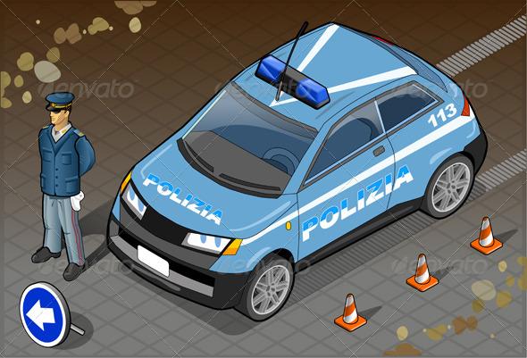 Isometric Italian Police Car - Objects Vectors