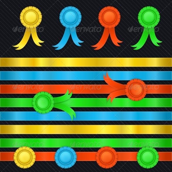 Set of Ribbons and Medals - Decorative Symbols Decorative