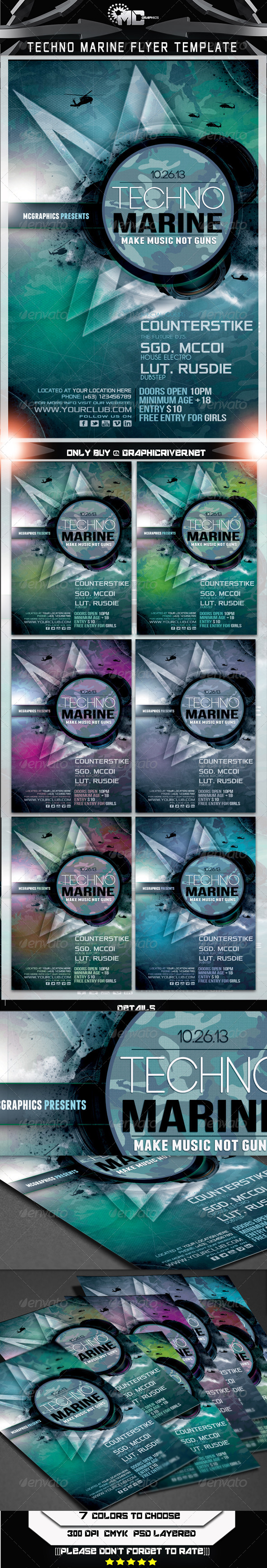 Techno Marine Flyer Template - Clubs & Parties Events