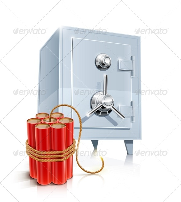 Close Metallic Safe with Bomb - Man-made Objects Objects