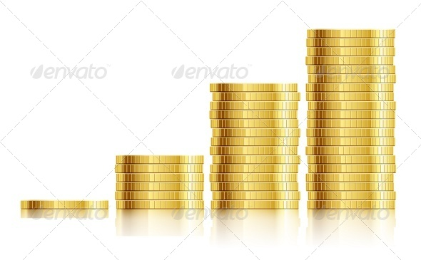 Trade Diagram with Golden Coins Money - Retail Commercial / Shopping