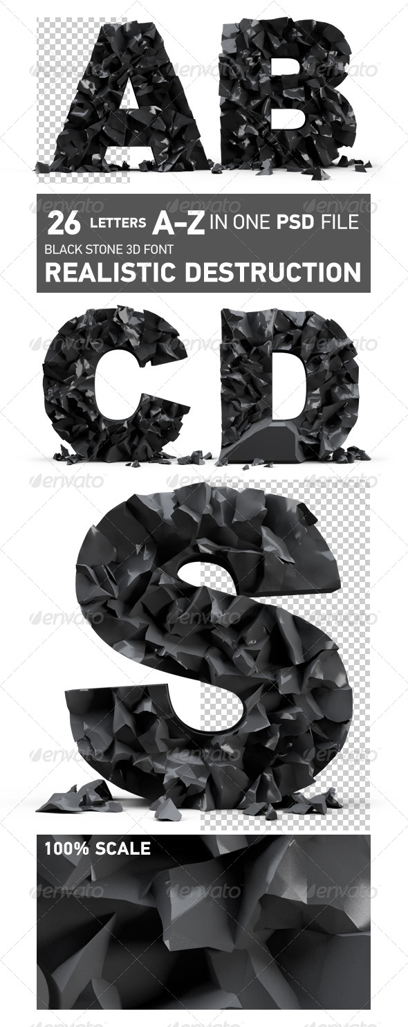 Black stone 3d font, realistic destruction - Text 3D Renders
