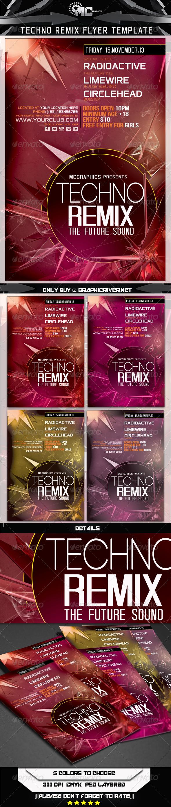 Techno Remix Flyer Template - Flyers Print Templates