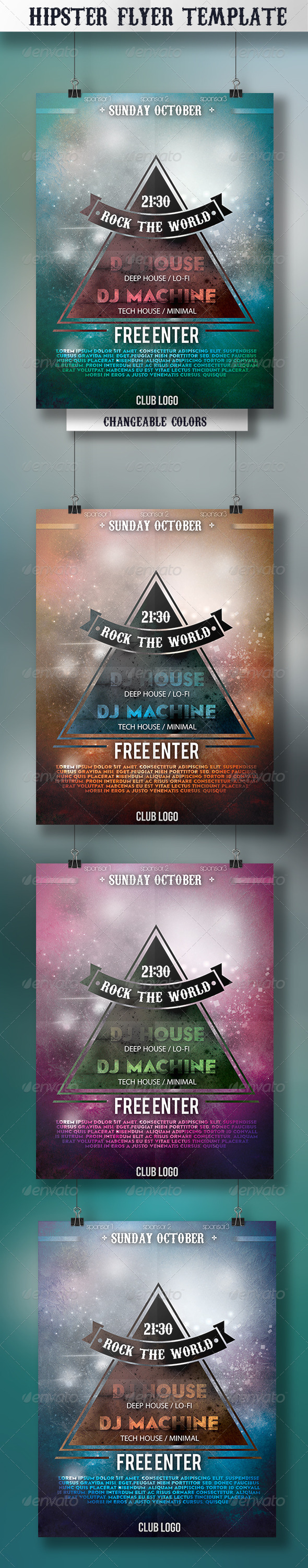 Hipster Flyer Template - Events Flyers