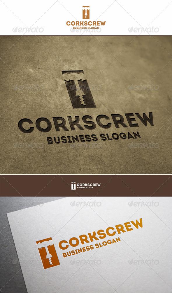 Wine Corkscrew Logo - Objects Logo Templates