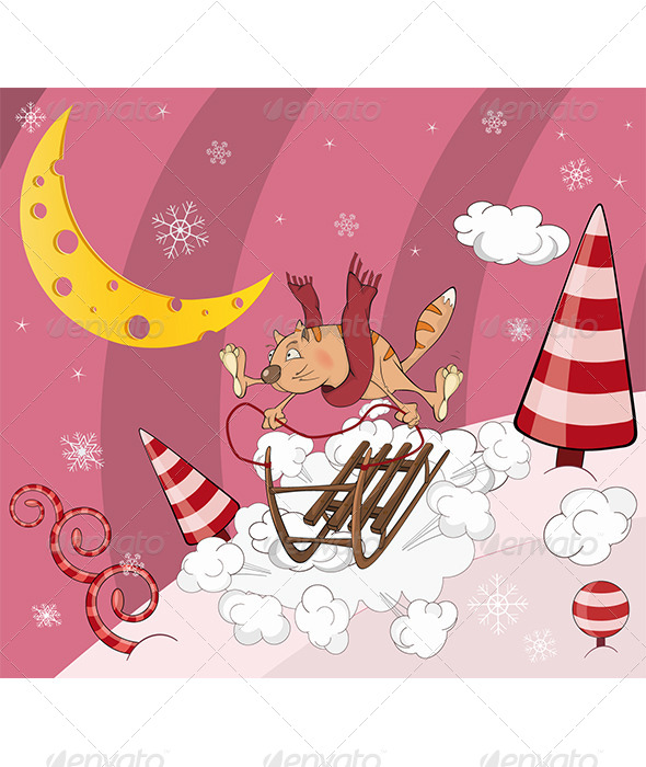 Cat on Sledge Cartoon  - New Year Seasons/Holidays