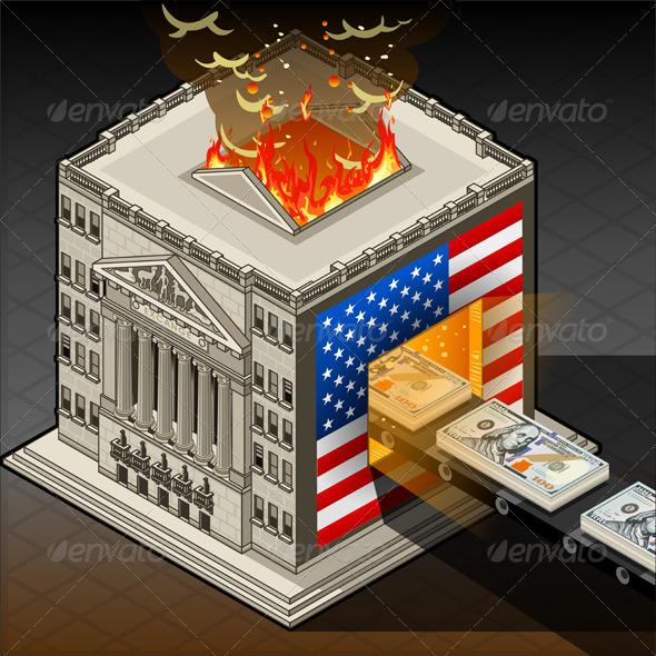 Isometric Stock Exchange Burning Dollars - Buildings Objects