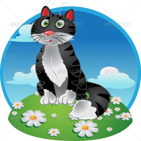 Black Cat Sitting on Color Background - Animals Characters