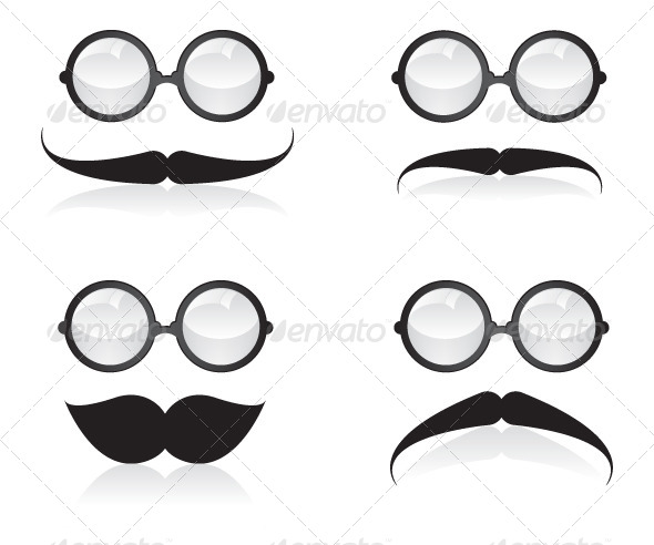 Mustache and Sunglasses Illustration - People Characters