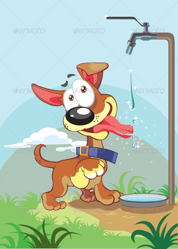 Vector Dog on Color Background - Animals Characters