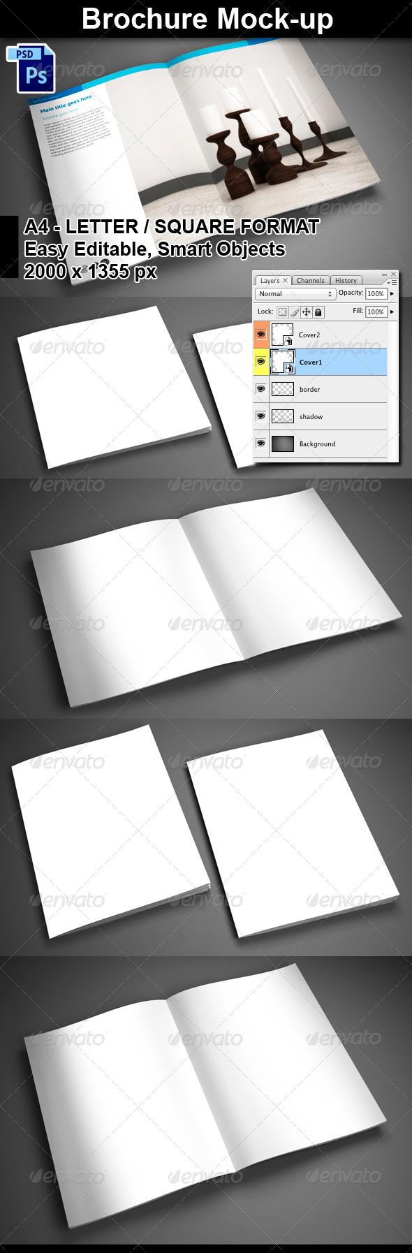 4 PSD Brochure Mock-Ups - Brochures Print