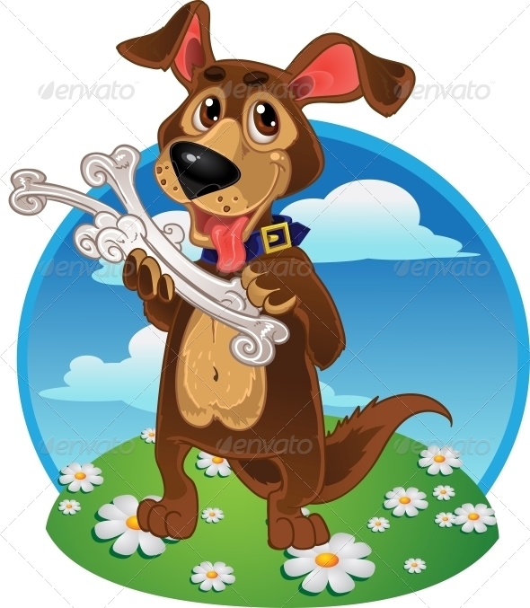Dog with Bones on a Color Background - Animals Characters