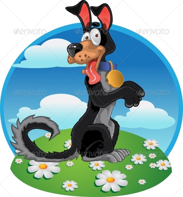 Friendly Black Dog on Bright Color Background - Animals Characters