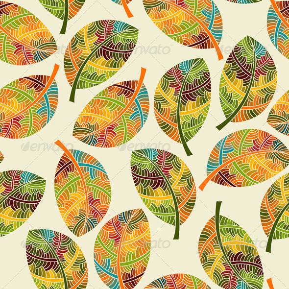 Vector Seamless Pattern with Autumn Leaves - Patterns Decorative