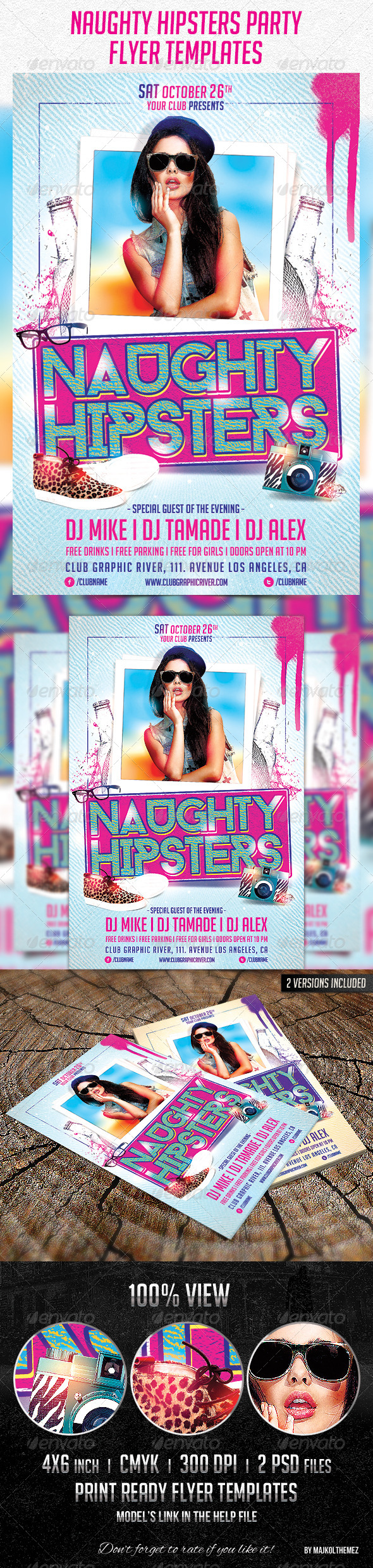 Naughty Hipsters Flyer Templates - Clubs & Parties Events