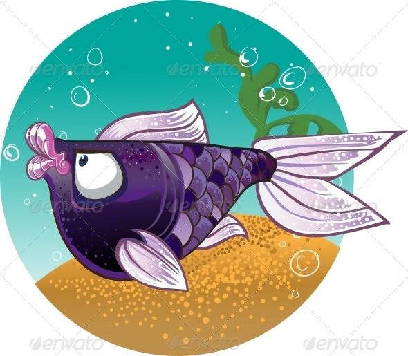 Dark Violet Fish on Bacground - Animals Characters