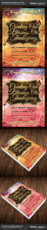 Thanksgiving Blessing Church Flyer - Church Flyers