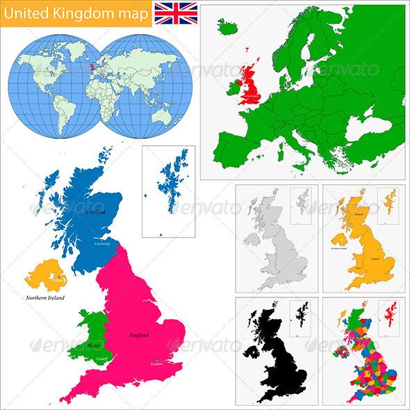United Kingdom Map - Travel Conceptual
