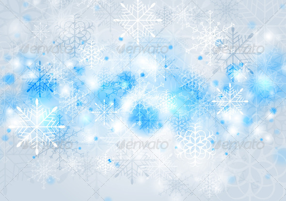 Bright Blue Vector Christmas Background - Christmas Seasons/Holidays