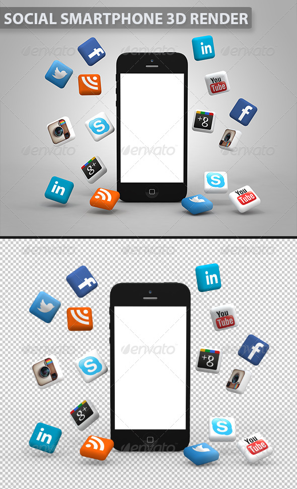 Social Media Smartphone - Technology 3D Renders