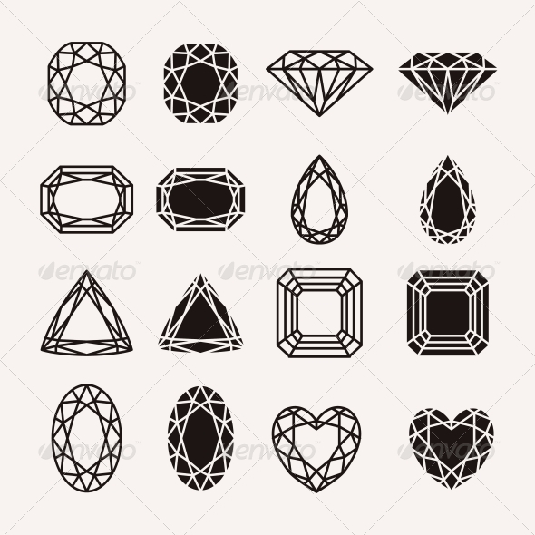 Diamond Icons - Decorative Symbols Decorative