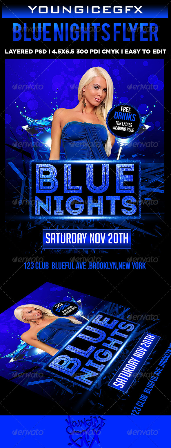 Blue Nights Flyer - Clubs & Parties Events