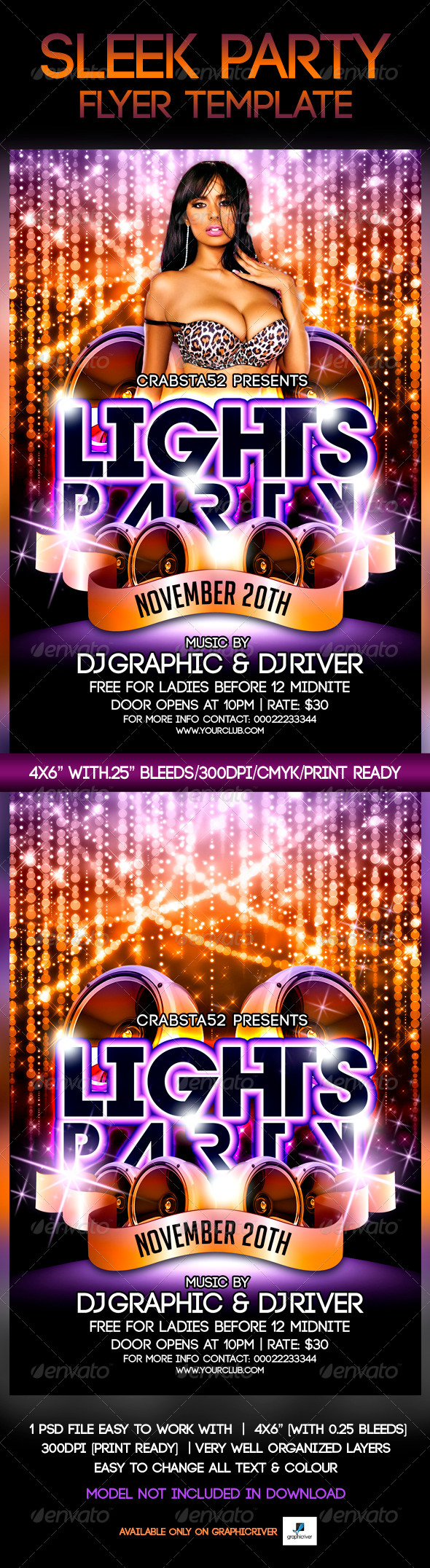 Lights Party Flyer Template - Events Flyers