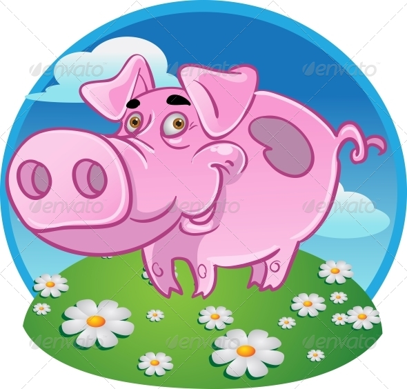 Funny Pink Pig on Color Background - Animals Characters