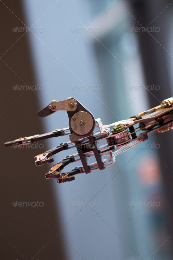 Future technology in black prosthetic hand - Stock Photo - Images