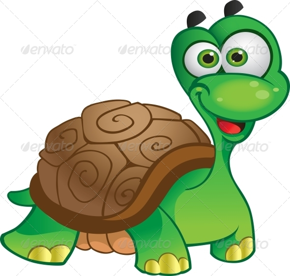 Vector Tortoise Isolated on White - Animals Characters