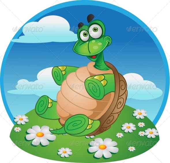 Fun Tortoise on Color Background - Animals Characters