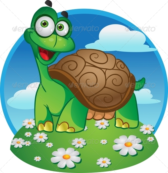 Smiling Fun Vector Tortoise on a Color Background - Animals Characters