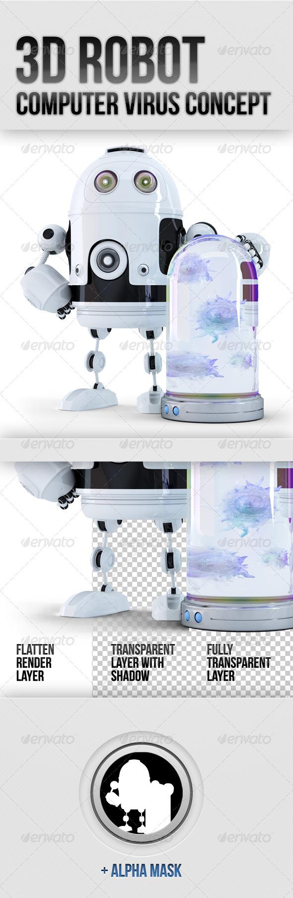 3D Robot. Computer Virus Concept - Technology 3D Renders
