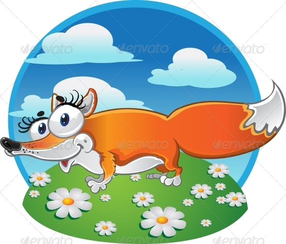 Cheerful Fox on Background - Animals Characters